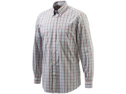 Beretta Men's Never Iron Drip Dry Shirt Long Sleeve Cotton Red Check Medium
