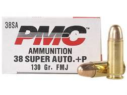 PMC Bronze Ammunition 38 Super +P 130 Grain Full Metal Jacket Box of 50