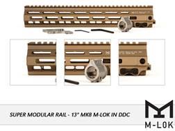 "Geissele Super Modular Rail MK8 M-Lok Free Float Handguard AR-15 Aluminum Desert Dirt Color 13"""
