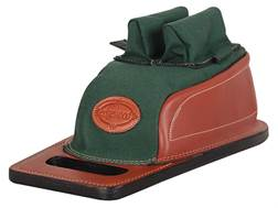 Edgewood Minigater Rear Shooting Rest Bag Tall with Regular Ears and Regular Stitch Width and Grab Handle Leather and Nylon Green Unfilled