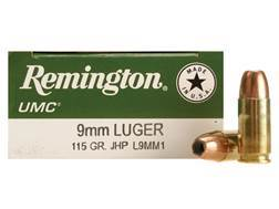 Remington UMC Ammunition 9mm Luger 115 Grain Jacketed Hollow Point