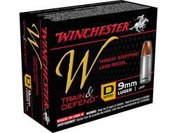 Winchester W Defend Reduced Recoil Ammunition 9mm Luger 147 Grain Jacketed Hollow Point Box of 20