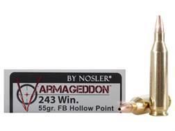 Nosler Varmageddon Ammunition 243 Winchester 55 Grain Hollow Point Flat Base Box of 20