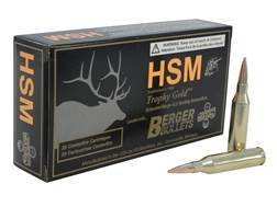 HSM Trophy Gold Ammunition 243 Winchester 95 Grain Berger Hunting VLD Hollow Point Boat Tail Box of 20