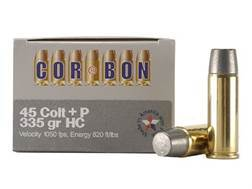 Cor-Bon Hunter Ammunition 45 Colt (Long Colt) +P 335 Grain Hard Cast Lead Flat Point Box of 20