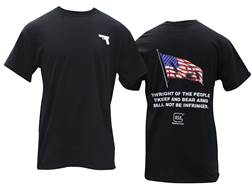 Glock 2nd Amendment T-Shirt Short Sleeve Cotton and Polyester Blend Black Medium