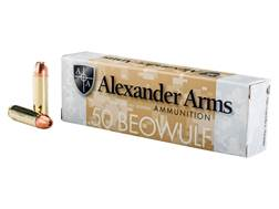 Alexander Arms Ammunition 50 Beowulf 335 Grain Rainier Plated Hollow Point Box of 20