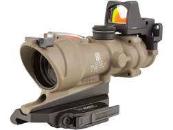 Trijicon ACOG TA31-ECOS-RMR BAC Rifle Scope 4x 32mm Dual-Illuminated Green Crosshair 223 Remington Reticle with 3.25 MOA RMR Red Dot Sight, Iron Sights and ARMS Throw Lever Flattop Mount Dark Earth