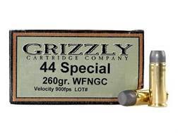 Grizzly Ammunition 44 Special 260 Grain Cast Performance Lead Wide Flat Nose Gas Check Box of 20