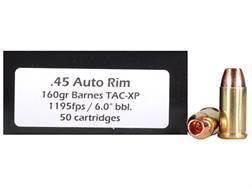 Doubletap Ammunition 45 Auto Rim (Not ACP) 160 Grain Barnes TAC-XP Hollow Point Lead-Free Box of 50