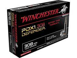 Winchester PDX1 Defender Ammunition 308 Winchester 120 Grain Bonded Jacketed Hollow Point