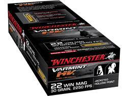 Winchester Supreme Ammunition 22 Winchester Magnum Rimfire (WMR) 30 Grain Jacketed Hollow Point