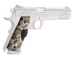 Crimson Trace Lasergrips 1911 Government, Commander Front Activation Polymer Brown Digital Camo with Kimber Logo