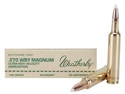 Weatherby Ammunition 270 Weatherby Magnum 140 Grain Nosler AccuBond Box of 20