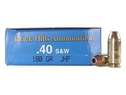 Black Hills Remanufactured Ammunition 40 S&W 180 Grain Jacketed Hollow Point Box of 50