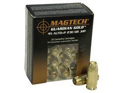 Magtech Guardian Gold Ammunition 45 ACP +P 230 Grain Jacketed Hollow Point