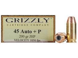 Grizzly Ammunition 45 ACP +P 200 Grain Jacketed Hollow Point Box of 20