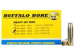 Buffalo Bore Ammunition 357 Magnum 158 Grain Semi-Jacketed Hollow Point High Velocity Box of 20
