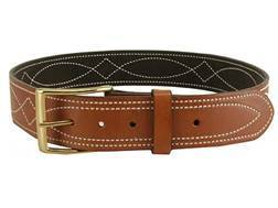 "DeSantis Fancy Stitch Holster Belt 1-3/4"" Brass Buckle Suede Lined Leather Tan 46"""