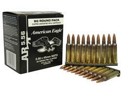 Federal American Eagle Ammunition 5.56x45mm NATO 55 Grain XM193 Full Metal Jacket Boat Tail 10 Round Clips in Box of 90