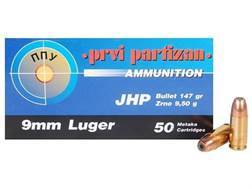 Prvi Partizan Ammunition 9mm Luger 147 Grain Jacketed Hollow Point Box of 50