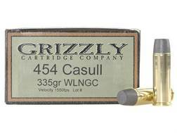 Grizzly Ammunition 454 Casull 335 Grain Cast Performance Lead Wide Flat Nose Gas Check Box of 20
