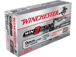 Winchester Win3Gun Ammunition 9mm Luger 147 Grain Brass Enclosed Base