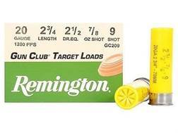 "Remington Gun Club Target Ammunition 20 Gauge 2-3/4"" 7/8 oz #9 Shot"