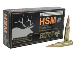 HSM Trophy Gold Ammunition 260 Remington 130 Grain Berger Hunting VLD Hollow Point Boat Tail Box ...