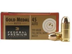 Federal Premium Gold Medal Match Ammunition 45 ACP 230 Grain Full Metal Jacket Box of 50