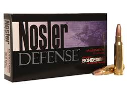 Nosler Defense Ammunition 308 Winchester 168 Grain Bonded Solid Base Box of 20