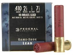 "Federal Game-Shok Hi-Brass Ammunition 410 Bore 2-1/2"" 1/2 oz #7-1/2 Shot Box of 25"