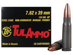 TulAmmo Ammunition 7.62x39mm 124 Grain Hollow Point (Bi-Metal) Steel Case Berdan Primed Box of 20