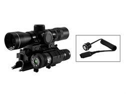 NcStar Boar Blaster Combo 4x 30mm Illuminated P4 Reticle Scope with Rings, SKS Tri-Rail Mount and Green Laser Matte