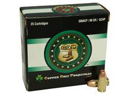 Copper Only Projectiles (C.O.P.) Ammunition 380 ACP 80 Grain Solid Copper Hollow Point Lead-Free Box of 25