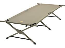 Slumberjack Camp Cot Aluminum Frame Black Polyester Top Olive Drab