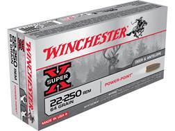 Winchester Super-X Ammunition 22-250 Remington 64 Grain Power-Point