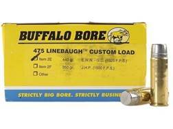 Buffalo Bore Ammunition 475 Linebaugh 440 Grain Lead Extra Wide Nose Box of 50