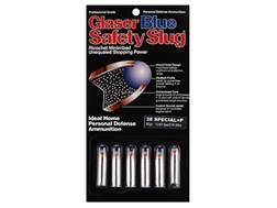 Glaser Blue Safety Slug Ammunition 38 Special +P 80 Grain Safety Slug
