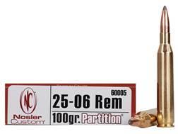 Nosler Trophy Grade Ammunition 25-06 Remington 100 Grain Partition Box of 20