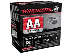 "Winchester AA Sport Sporting Clays Ammunition 12 Gauge 2-3/4"" 1 oz #8 Non-Toxic Steel Shot"