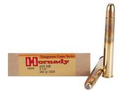 """Hornady Dangerous Game Ammunition 450 Nitro Express 3-1/4"""" 480 Grain DGX Flat Nose Expanding Box of 20"""