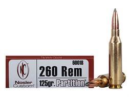 Nosler Trophy Grade Ammunition 260 Remington 125 Grain Partition Spitzer Box of 20