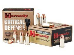 Hornady Critical Defense Ammunition 9x18mm (9mm Makarov) 95 Grain Flex Tip eXpanding Box of 25