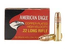 Federal American Eagle Ammunition 22 Long Rifle High Velocity 38 Grain Plated Lead Hollow Point