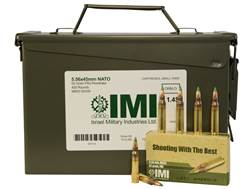 IMI Ammunition 5.56x45mm NATO 62 Grain M855 SS109 Penetrator Full Metal Jacket Ammo Can of 420 (14 B
