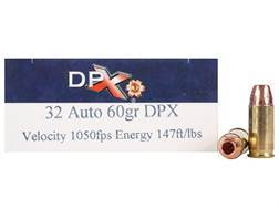 Cor-Bon DPX Ammunition 32 ACP 60 Grain DPX Hollow Point Lead-Free Box of 20