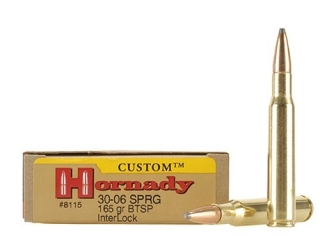 Hornady Custom Ammo 30-06 Springfield 165 Gr InterLock SPP BT Box of 20