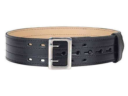 "Gould & Goodrich B49FL4R E-Z Slide Four Stitch Duty Belt 2-1/4""  Nickel Plated Brass Buckle Leather"