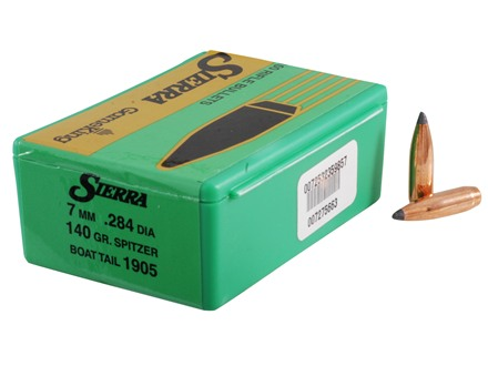 Sierra GameKing Bullets 284 Caliber, 7mm (284 Diameter) 140 Grain Spitzer Boat Tail Box of 100